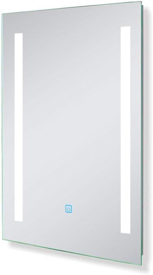 Aica/Sanit/är Lichtspiegel Badezimmer 45/×60 cm Touch BESCHLAGFREI Badspiegel Aluminium-Rahmen Kaltwei/ß Wind Serie