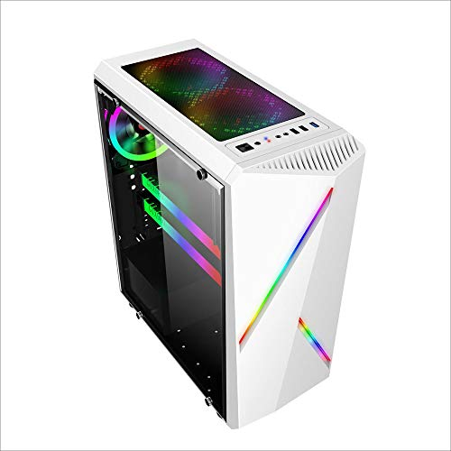 Wecnday-Home High Airflow Computer Case Gaming Tower ATX Audio with 2 RGB Color Changing Light Strips PC Case 350X170X420mm Cooling (Color : White, Size : One Size)