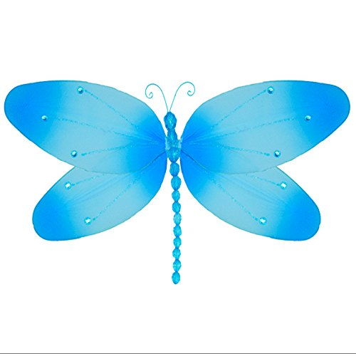 Hanging Dragonflyブルークリスタルメッシュナイロントンボデコレーション装飾赤ちゃん保育園寝室女の子部屋天井壁装飾結婚式誕生日パーティーベビーシャワーバスルームキッズ子ホーム3dアートDIY Small 7