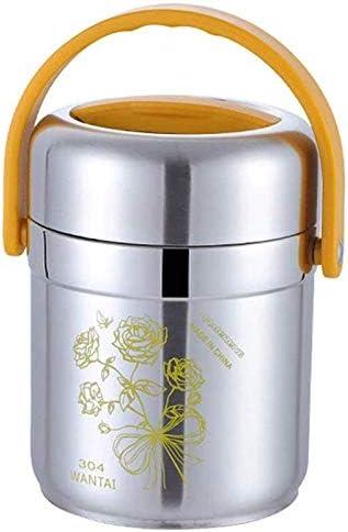 子供の大人のための熱弁当箱ハンドルステンレス鋼食品容器と真空断熱スープ魔法瓶高温または低温食品ジャー (Color : Yellow, Size : 1.6L)