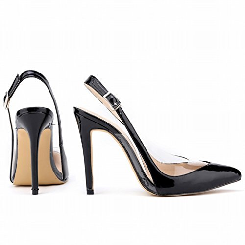 Wotefusi Women Summer Transparent Splicing Close Toe Ankle Strap Sandals Shoes High Heels Stilettos Black ohtEQVuufu
