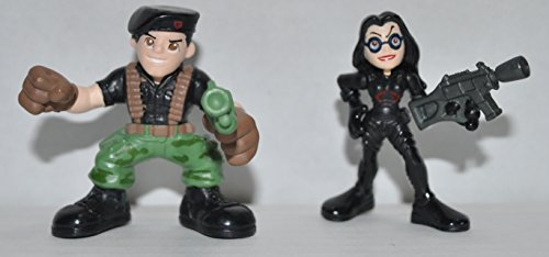 Vintage Flint (Camoflauge pants) and Baroness (Black costume) - GI Joe Combat Heroes 2-Packs - Action Figure - Doll Toy G I Joe Cobra - Loose Out of Package & Print (Cobra Baroness Costume)