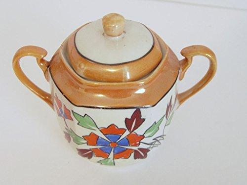 (Vintage Hand Painted Japanese Oriental Style Porcelain Sugar Bowl)