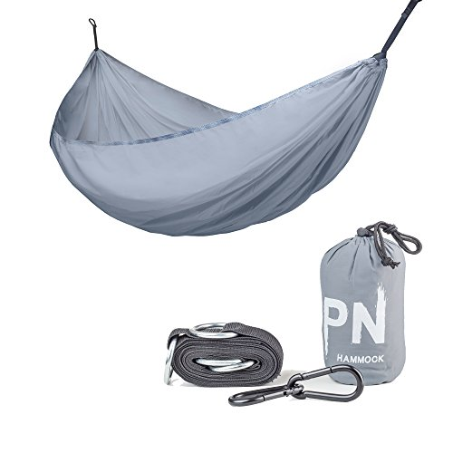 Travel Camping Hammock Professional Grade Ripstop Parachute Nylon Strength -Lightweight, Compact & Portable Best for Backpacking Hiking Beach Yard - Tree Friendly Strap & Carabiners Included by PSW