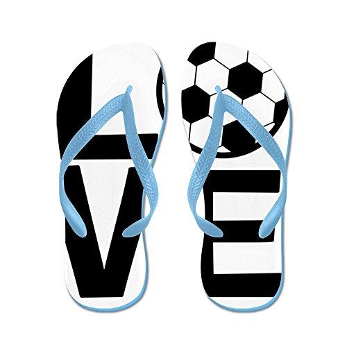 Cafepress Love Soccer - Infradito, Divertenti Sandali Infradito, Sandali Da Spiaggia Blu Caraibico