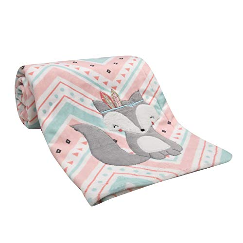 (Lambs & Ivy Little Spirit Coral/White/Blue Chevron Fox Luxury Baby Blanket)