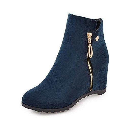 AgooLar Damen Mattglasbirne Rund Schließen Zehe Rein Reißverschluss Stiefel, Blau, 34