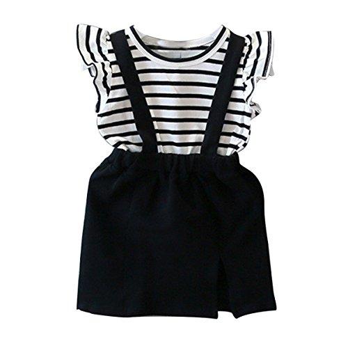 Puseky Toddler Baby Girls Striped Ruffle False Two-Piece Suspender Skirt Dresses (6T-7T, Black &