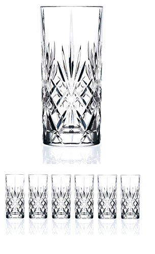 Crystal Drinking Glass - Set of 6 CRYSTAL HIGHBALL Durable Drinking glasses Limited Edition Glassware Drinkware Cups/coolers (11oz)