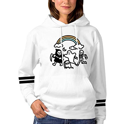 ONSSSNO Spooky Pals,Funny Sports Womens Hooded Jacket Hoodies Pocket White S