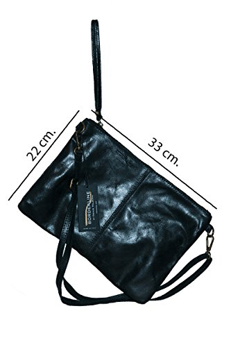 AIDA leather in 100 BORDERLINE real Italy Ladies' pochette Made in Black 7n6zw