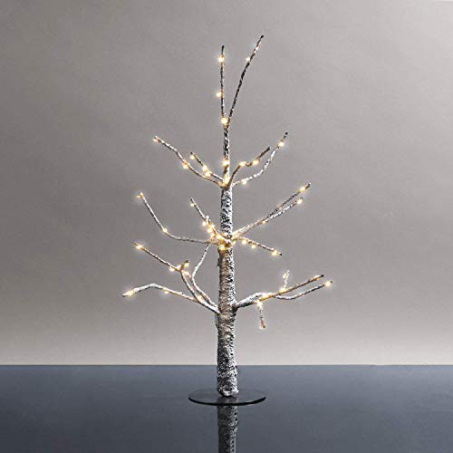 (LampLust Mini Lighted Christmas Tree - 18 Inch Size, Prelit Snow Covered Branches with 60 Warm White LED Lights, Indoor Use, Plugin, Holiday)