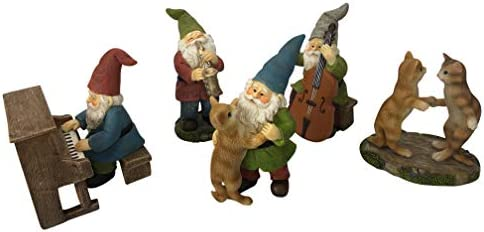 GlitZGlam Happy Miniature Gnomes and Cats Dancing Celebration – 6-Piece Musical Garden Gnome Set for The Miniature Fairy Garden