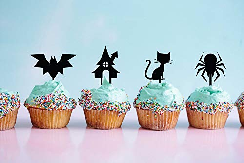 (Happy Halloween, Bat Cat Spider Building Cupcake Topper, Halloween Party Ideas, Happy Halloween, Zombie Cake Topper, Set Of 4,Party Event Favors)