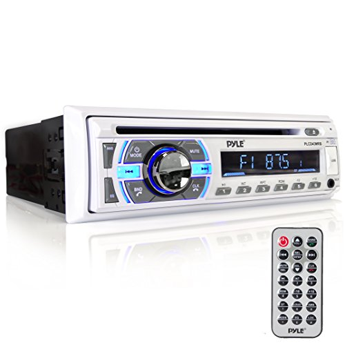 Boat Bluetooth Marine Stereo Receiver - Marine Head Unit Din Single Stereo Speaker Receiver - Wireless Music Streaming/Hands-Free Calling/CD Player/MP3/USB/AUX/ marine AM FM Radio - Pyle PLCD43MRB