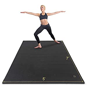 Gxmmat Large Yoga Mat Non-Slip 7'x5'x9mm, Thick Workout Mats for Home Gym Flooring, Extra Wide Exercise Mat for Men and Women Without Shoes, Non-Toxic Memory Foam, Comfortable for Stretching, Cardio