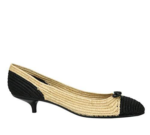 Bottega Veneta Women's Bow Beige Black Straw Heel Pump 337827 1050 (IT 40 / US 10)