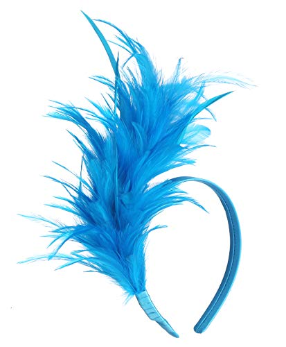 Felizhouse 1920s Fascinator with Feathers Headband for Women Kentucky Derby Wedding Tea Party Headwear (Peacock Blue)