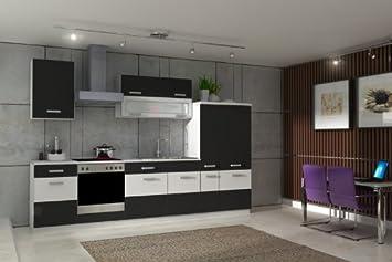 Küche Fabienne 310 Cm Küchenzeile In Schwarz Weiß Küchenblock