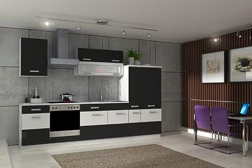 Küche Fabienne 310 Cm Küchenzeile In Schwarz / Weiß - Küchenblock