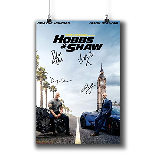 Fast & Furious Presents: Hobbs & Shaw (2019) Movie Poster Small Prints 1141-001 Reprint Signed Casts,Wall Art Decor for Dorm Bedroom Living Room (A4|8x12inch|21x29cm)