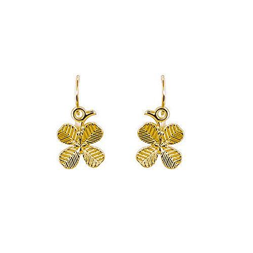 Tousmesbijoux Boucles d'oreilles trèfles pendantes en Or jaune 375/00