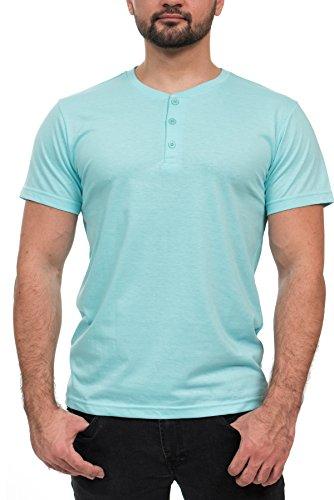 Henley Mens  Short Sleeve TShirt with 3 Buttons, Heather Mint, Medium