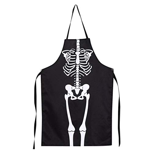 NewKelly 1PCS Kitchen Cosplay Horror Chef Halloween Skeleton Apron Costume Party Supplies (Black) for $<!--$7.68-->