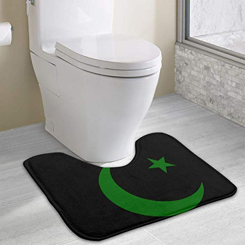 colory Symbols of Islam Toilet Carpet Anti-Slip Contour Bath Rug Carpet Mat for Toilet 19.2″x15.7″