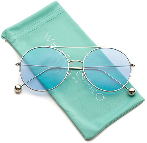 WearMe Pro - Round Colored Tinted Lens Metal Frame - Tinted Glasses Blue