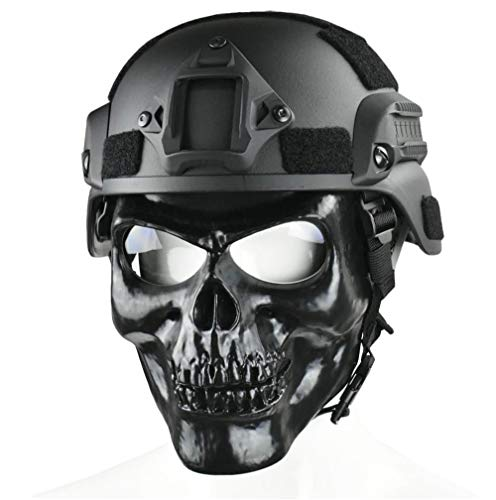 JFFCESTORE Skull Full Mask with Goggles and Fast Tactical Helmet/MICH 2000 Style ACH Helmet Combined for Airsoft Paintball CS Game Set (Mich +Mask)