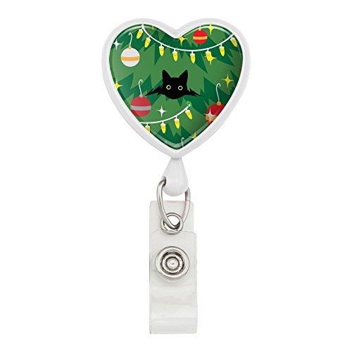 Black Cat Hiding in Christmas Tree Heart Lanyard Retractable Reel Badge ID Card Holder - White (Retractable Christmas Tree)