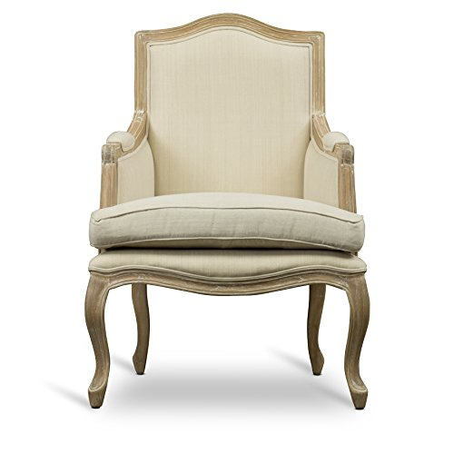Baxton Studio Nivernais Wood Traditional French Accent Chair, Large, Brown