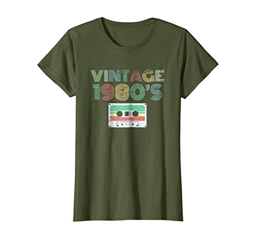 Womens Vintage Distressed 1980s Music T Shirt Large Olive