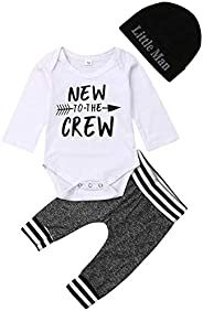 i-Auto Time Newborn Baby Boy Clothes Letter Print Romper+Long Pants+Hat Outfits Set