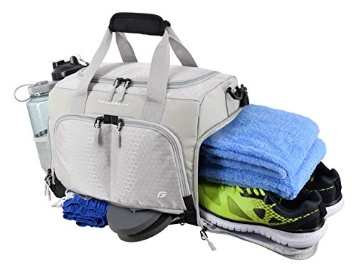 914dd6f07 Ultimate Gym Bag 2.0: The Durable Crowdsource Designed Duffel Bag with 10  Optimal Compartments Including Water Resistant Pouch (Grey, Small (15
