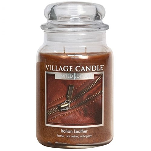 (Village Candle Italian Leather 26 oz Glass Jar Scented Candle, Large )