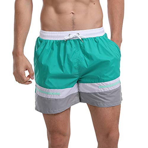 (Fashion Men's Strapped Hawaiian Beach Fit Sport Quick Dry Casual Shorts Pants, Mmnote Green )