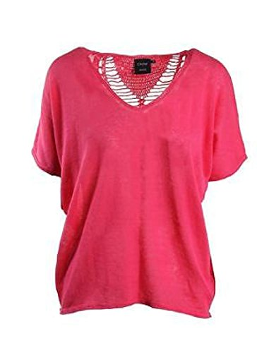 Cliche Women's Linen Blend Crochet Back Short Sleeve Sweater, Watermelon, XS
