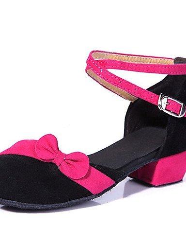 Samba Pink Gold Niedriger Tanzschuhe anpassbare Rot Kinder Latin Flamenco Samt Salsa Pink Synthetik ShangYi Nicht Absatz q67w0v
