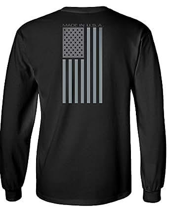 Made USA Flag Subdued Banner Longsleeve Shirt - Black - Med