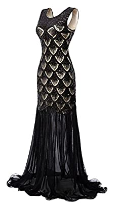 eforpretty 1920s Dresses Sequin Mermaid Long Gown V-Back Beads Evening Prom for Womens