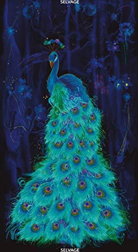 (Timeless Treasures Moonlight Plume - Peacock Panel 24-Inch)