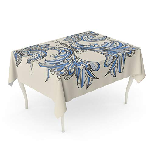 Tarolo Rectangle Tablecloth 60 x 84 Inch Blue Fish Butterfly Wings Fishes Separately Feather Peacock Abstract Line Ornate Table - Butterfly Fish Ornate