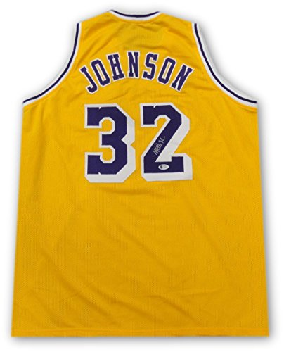 Magic Johnson Hand Signed Autograph Home Lakers Basketball Jersey Beckett Ver