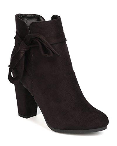 Faux Suede Wrap (Breckelles Women Gina-36 Faux Suede Wraparound Bow Tie Chunky Heel Black Bootie (9))