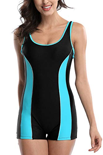 V FOR CITY Ladies Competitive Swimsuit Lap Swimming 1 PC Swimsuit Boyleg Black L