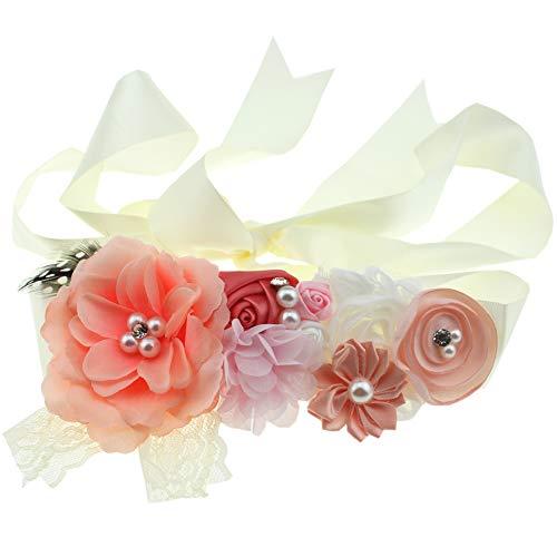 Lovemyangel Bridal Sash Belt Bride Maternity Satin Flower Ribbon Sash Baby Girls Dress Accessories for Wedding Decoration (Nude)