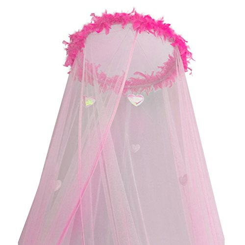 Discover Bargain Boho and Beach Princess Feather Boa Bed Canopy Mosquito Net for Girls with Sparkly ...