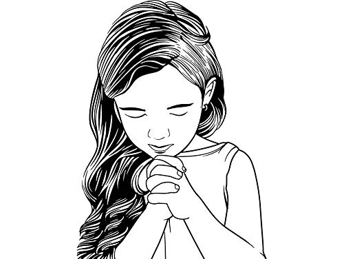 (Yetta Quiller Baby Girl Praying Christianity Concentration Innocence Cheerful Infant Childhood Vector Clipart Digital Circuit Vinyl Wall Decor Cutting)